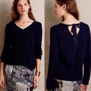 Anthro Moth tie back vneck sweater navy blue small